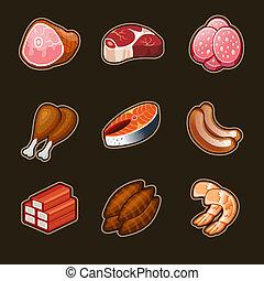 voedingsmiddelen, set, vlees, iconen