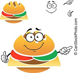 voedingsmiddelen, smakelijk, cheeseburger, spotprent, vasten