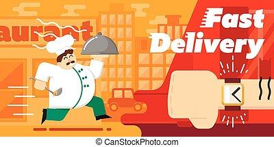 voedingsmiddelen, snelle levering, vector, illustratie, ontwerp