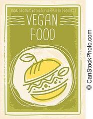 voedingsmiddelen, spandoek, ontwerp, vegan, reclame