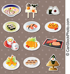 voedingsmiddelen, stickers, spotprent, japanner