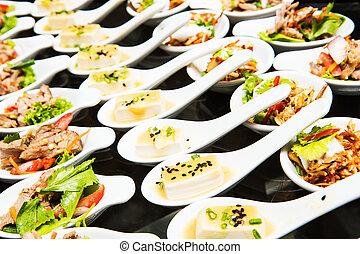 voedingsmiddelen, tafel, dranken, luxe, trouwfeest