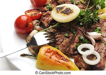 voedingsmiddelen, tafel, verfraaide, heerlijk, bereid