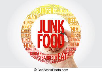 voedingsmiddelen, teken, ouwe rommel, woord, wolk