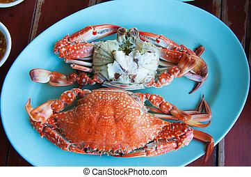voedingsmiddelen, thai, gestoofd, krab
