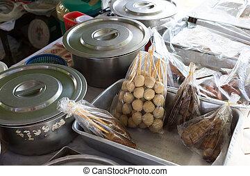 voedingsmiddelen, thailand, markt, alhier, restaurant