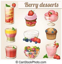 voedingsmiddelen, toetjes, set, icons., bes