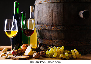 voedingsmiddelen, traditionele , diner, wijntje