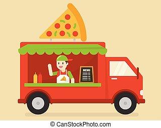 voedingsmiddelen, truck.