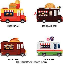 voedingsmiddelen, van., straat, illustratie, vrijstaand, ...