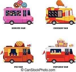 voedingsmiddelen, van., straat, illustratie, vrijstaand, vector, ontwerp, fastfood, plat, delivery.