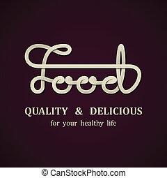 voedingsmiddelen, vector, ontwerp, mal, calligraphic