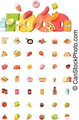 voedingsmiddelen, vector, set, pictogram