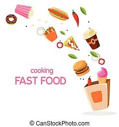 voedingsmiddelen, vector, vasten, illustratie