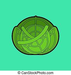 voedingsmiddelen, vegetable., kool, isolated., illustratie,...