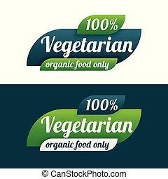 voedingsmiddelen, vegetariër, vegan, logo, symbool, pictogram