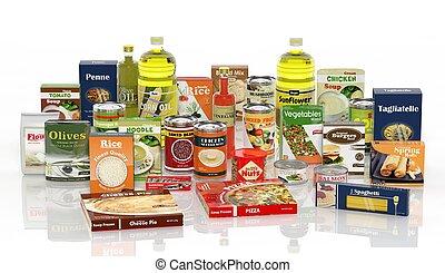 voedingsmiddelen, verpakt, vrijstaand, verzameling,...