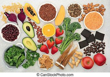 voedingsmiddelen, vitaliteit, gezondheid, fitness, &, energie