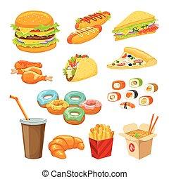 voedingsmiddelen, voorwerpen, set, vasten, kleurrijke