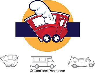 voedingsmiddelen, vrachtwagen, iconen