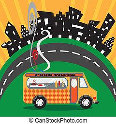 voedingsmiddelen, vrachtwagen, in de stad