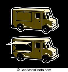 voedingsmiddelen, vrachtwagen, mal, .