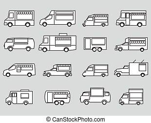 voedingsmiddelen, vrachtwagen, pictogram, set
