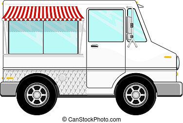 voedingsmiddelen, vrachtwagen, spotprent