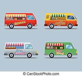voedingsmiddelen, vrachtwagen, verzameling
