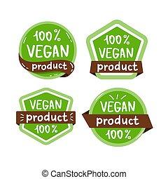 voedingsmiddelen, vrijstaand, vegan, vector, logo, illustraion, pictogram