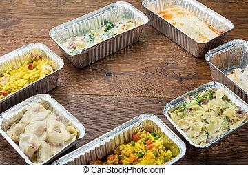 voedingsmiddelen, weg, folie, containers, nemen