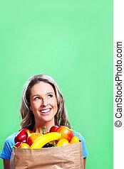 voedingsmiddelen, zak, vrouw winkelen