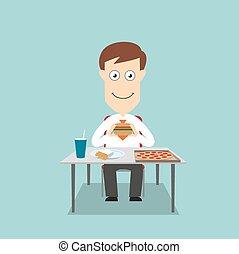 voedingsmiddelen, zakenman, hebben, vasten, etentje