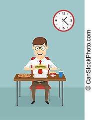 voedingsmiddelen, zakenman, vasten, cafetaria, kantoor, eten