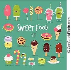 voedingsmiddelen, zoet, set, vasten