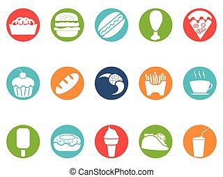 voedsel, set, knoop, vasten, iconen