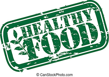 voedsel stempel, grunge, gezonde , rubber, v