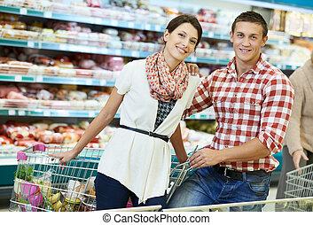 voedsel winkelen, supermarkt, gezin