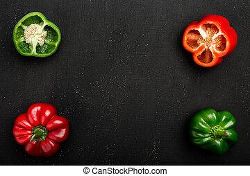 voedzaam, knippen, ruimte, capsicum, groentes, half., groene peperen, fris, kopie, geheel, rood