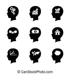 voer stel aan, achtergrondmensen, denken, vrijstaand, hersenen, concept, 005, pictogram, witte