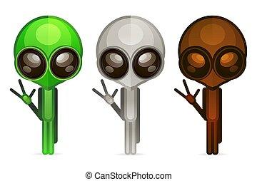 voer stel aan, humanoid, gezicht, alien, pictogram