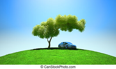 voertuig, fileld, moderne, boompje, groene, onder