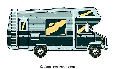 voertuig, kampeerder, vintage auto, recreatief