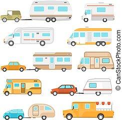 voertuig, recreatief, set, iconen