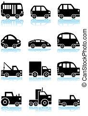voertuig, set, black , pictogram