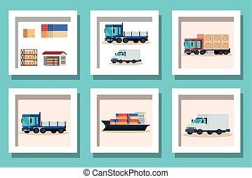 voertuigen, bundel, vervoer, aflevering