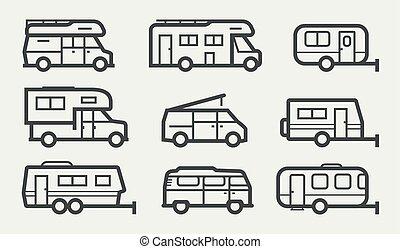 voertuigen, busjes, recreatief, kampeerder, iconen