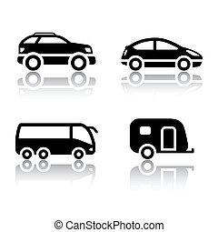 voertuigen, set, -, vervoeren, iconen