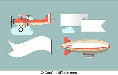voertuigen, vliegen, vector, reclame, iconen