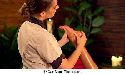 voet, 4k., masseren, therapy.